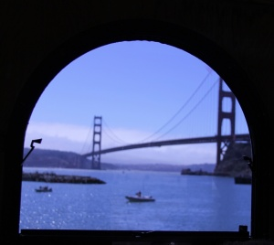 Golden Gate Bridge framed by a window on a tour bus headed to Sausalito!